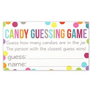 Candy Guessing Game Cards - Guess How Many in the Jar - Confetti Polka Dot Card 3.5 X 2 Inches - Pack of 50 by Wedding Advice Cards