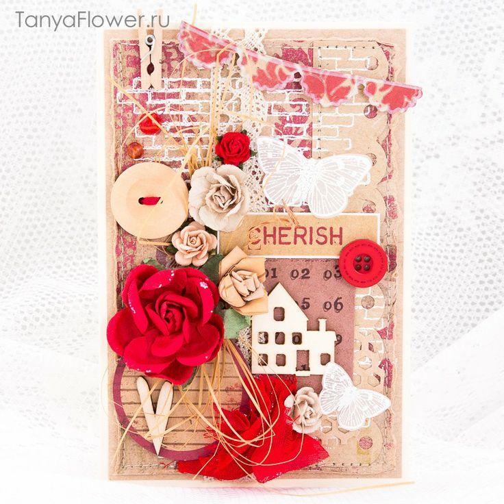 Tanya Flower: Серия ЭКО открыток: Крафт + Красный
