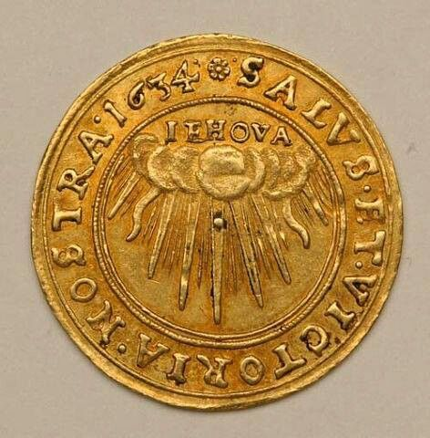 """Coin 1634 - with the name Jehovah is visible. This name was a household word, used in Bible readings, hymns, opera music, embroidered onto bookmarks, carved onto church doorways, and painted above paintings and even on the crown of an angel in the Vatican. It was removed +7,000 times from the Bible, and replaced with """"God"""" and """"Lord"""". Jehovah forbade taking away one word of his Holy Word."""