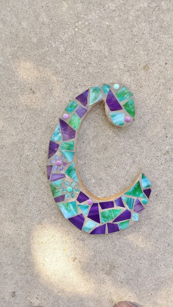 Mosaic Initial / mosaic letter in stained glass/ one of a kind & 468 best mosaic initials u0026 door numbers images on Pinterest ... pezcame.com