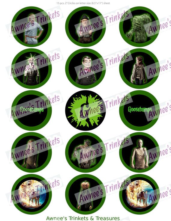 Goosebumps 2 inch Cupcake Toppers by AwneesTrinkets on Etsy