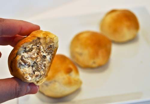 Sausage balls. Genius. I used to do these and try to keep them in the crescent roll. Love the idea of just rolling them as balls. Much less work! Also, will make will real sausage!