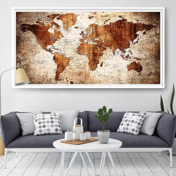 Push pin large wall decor world map, Large wall art world map poster,for gift, for travel brown extra large art print interior decor (L59)
