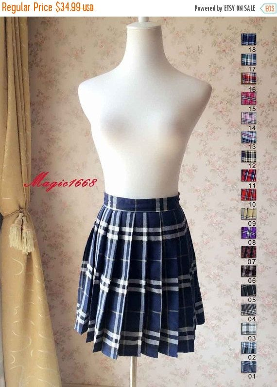 2016 Plaid Short Pleated Skirt Plaid Tennis Skirt by Dressromantic