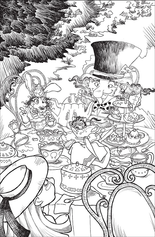 "Illustrazione in bianco e nero per ""Alice nel paese delle meraviglie"". Un te con il Cappellaio matto e la Lepre marzolina. Black and White illustration for ""Alice in Wonderland"". Mad Hatter."