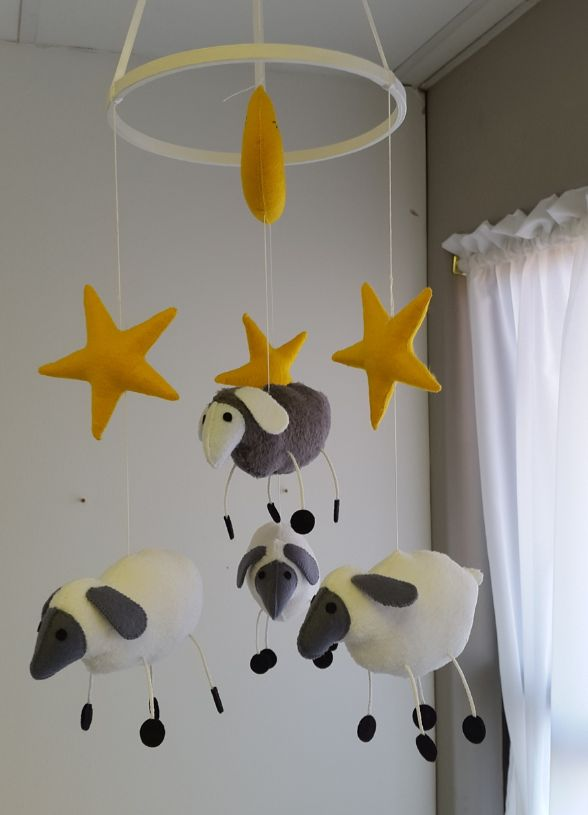 Our Dangly Leg #SheepTheme #BabyMobile in #grey and #yellow is perfect for any #NeutralNursery!  #BabyBedding #BabyLinen