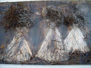 Anselm Kiefer -  Les Erinyes 1998 (technique mixte et fil de fer barbelé)