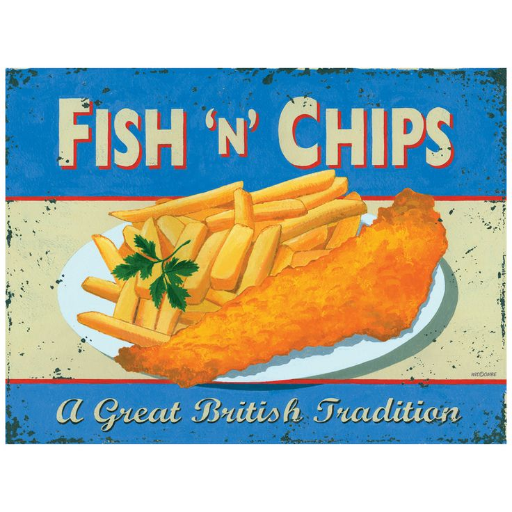 The most famous of all British food, Fish & Chips, is celebrated with this Retro Style Fish N Chips Tin Sign. Add retro style to your kitchen, diner or food stand with this new, but vintage looking sign.
