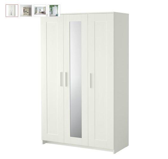 İkea BRIMNES Beyaz Gardırop Modeli Fiyat : 439 ₺  Ürün Özellikleri • Dolabın orta kısmındaki ayna size fazladan yer kazandırır. Özellikle küçük yatak odalarında ayna için farkl�