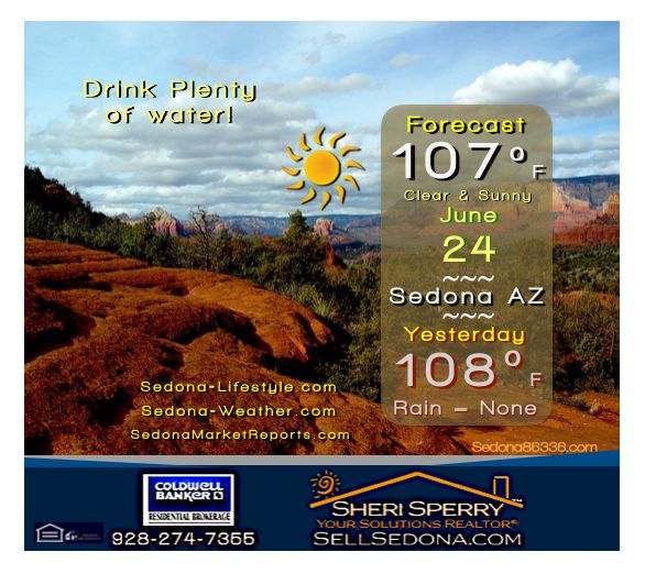 West Sedona Daily Weather forecast for Saturday June 24 - Sedona-Weather.com -New Record -Sunrise 5:14a -Sunset 7:44p -#sedona#weather