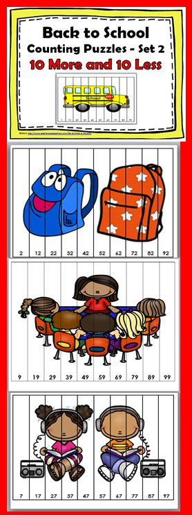 Back to School Counting Puzzles - Set 2 {10 More and 10 Less}