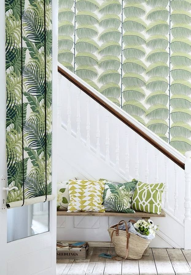 Bring The Garden Inside The Home With The Fresh Look Of Coordinating Fabric  And Paper Depicting Oversized Ferns In Racing Greens.