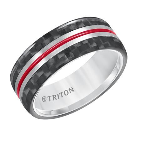8mm Tungsten with Carbon Fiber Inlay and Fire Red Racing Stripe from Triton