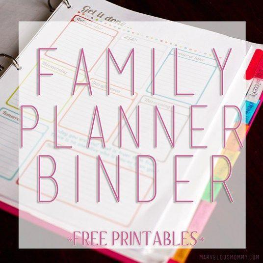 Family Planner Binder - Free Printables #weddingplannerorganizer