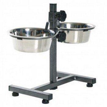 Voerstandaard S voor kleine honden inclusief 2 RVS bakken. De standaard is in hoogte verstelbaar en aan de onderzijde voorzien van rubberen doppen.
