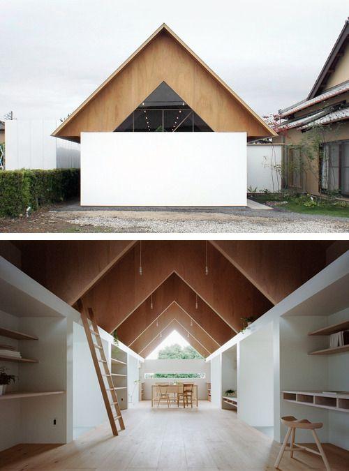 Love the pitch roof and what's under it, with secret nooks between triangular framing via ladders? mA Style - Koyanosumika house, Shizuoka 2013. Photos (C) Kai Nakamura.