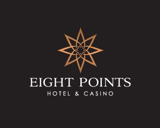 Eight Points Logo design - Could be used for a variety of businesses. From a hotel to a spa or salon. Price $399.00