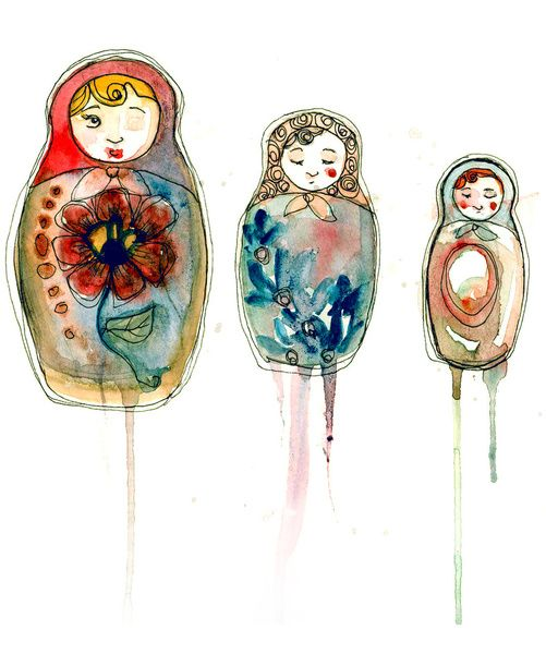 Matrioshkas Watercolor Painting | #art #watercolor  #matrioshka