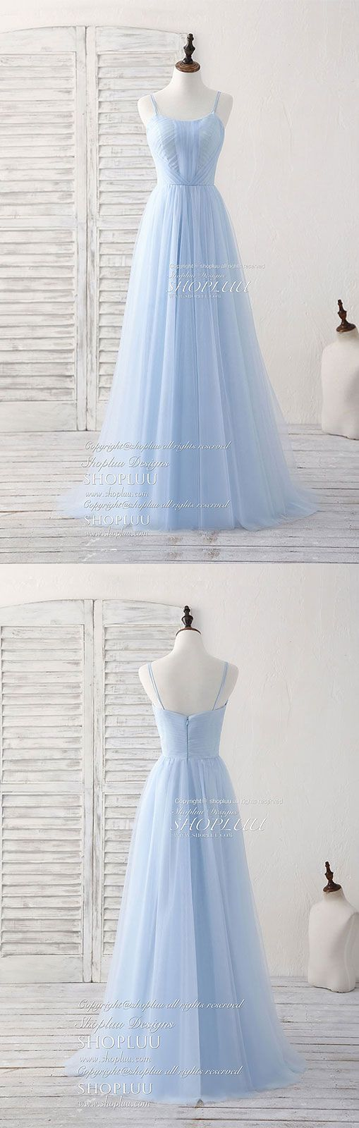 Simple blue tulle long prom dress blue bridesmaid dress, blue wedding party dress, simple blue dress, women fashion
