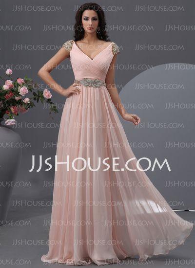 A-Line/Princess V-neck Floor-Length Chiffon Dress With Ruffle Beading