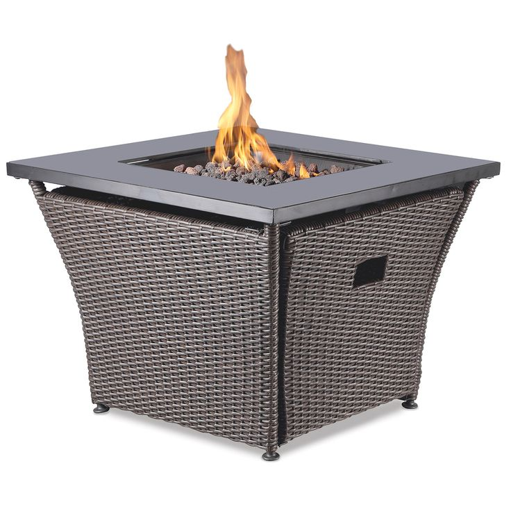 Endless Summer 32 In W 50000 Btu Features Black Glass Mantle With Handcrafted Dark Brown Resin