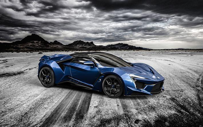 Download wallpapers W Motors, Lykan Hypersport, 4k, hypercar, blue sports coupe, blue Lykan