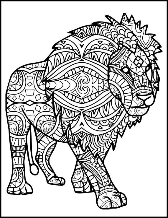 3 Printable Pages For Coloring For Lion Lovers Coloring Bundle For Adults Lion Coloring Pages Adult Coloring Pack Adult Coloring Book Lion Coloring Pages Mandala Coloring Pages Free Adult Coloring Pages