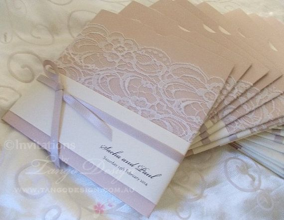 Wedding Invitation with Lace - Pocket envelope and card Sample