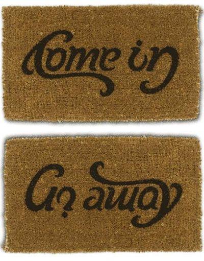 Come in / Go away:  Welcome Mats, Back Doors, North Typography, Stunning Design, Doors Mats, Funny Gag Gifts, So Funny, Housewarming Gifts, Typography Inspiration