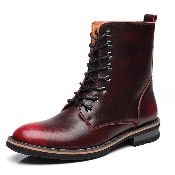 Men British Style Cow Leather Non-slip High Top Casual Boots