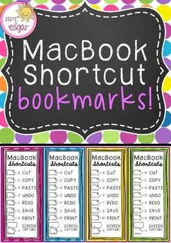 Mac Shortcuts:Mac shortcut bookmarks to help students remember quick commands. Four different coloured bookmarks with clear pictures and fonts. key terms:technology, apple mac, mac, macbook, shortcuts, mac shortcuts, computer shortcuts, computing, computers