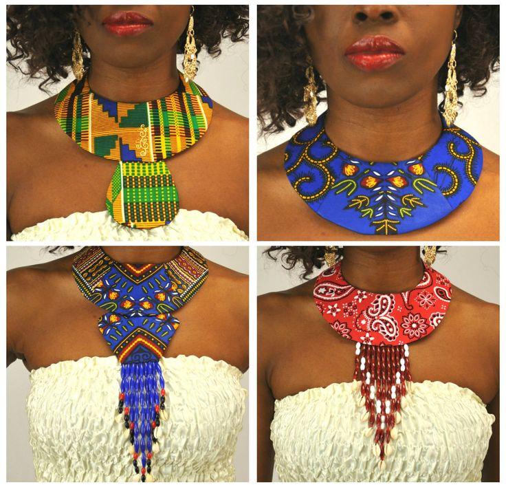 Handmade Dashiki Kente Ankara African Print Bandanna Fabric Bib Collar Necklace - One Size by UtterLadyness on Etsy