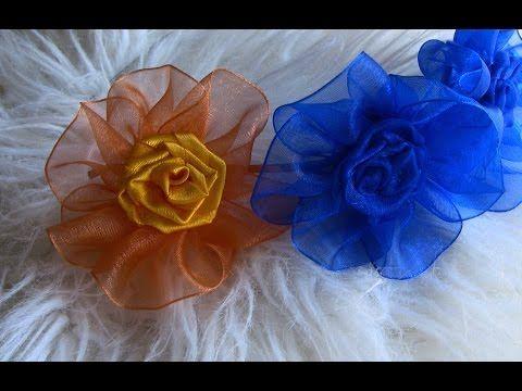 Flor em Fita de ORGANZA Passo a Passo- Kanzashi Flower, Ribbon Rose,Tutorial, DIY - YouTube