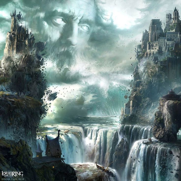 "DOWNFALL OF NUMENOR by Edvige Faini ""But wrathful were the Gods of old And broke the Men that once were bold. The Earth was rent and Seas towered to the sky: Numenor was drowned and heard not its maidens cry. The Sea arose in frightening might And waves that looked like endless night."""