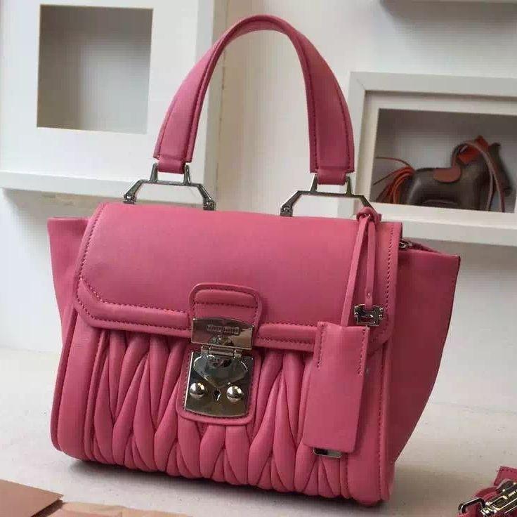99b7d6f72e5c3 MiuMiu Nappa Leather Matelasse Top Handle Bag R1132C Pink 2016   Miu ...