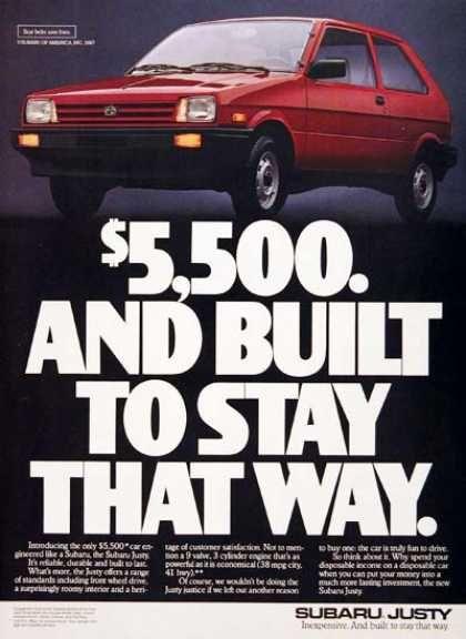 """hahahahahaha! Not as """"new"""" as mine was, but look!!! A Subaru Justy (1987)"""