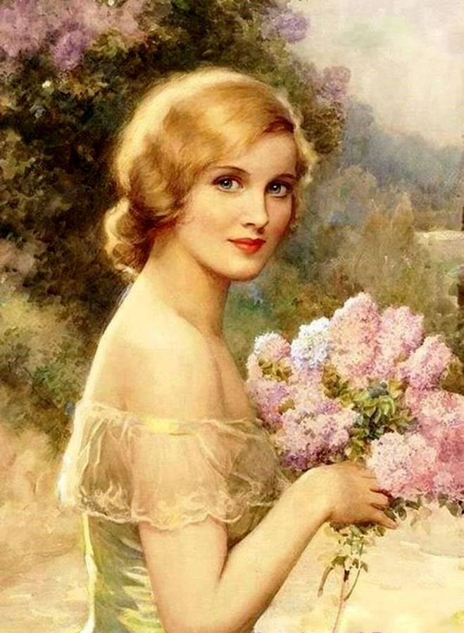 vintage lady and lilacs                                                                                                                                                                                 More