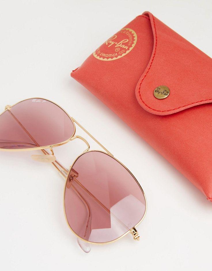 Imagen 2 de Gafas de sol estilo aviador de metal con lentes polarizadas en rosa de Ray-Ban