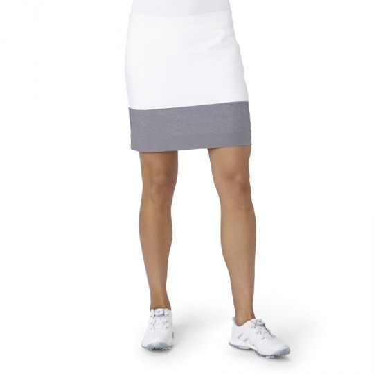 White Adidas Ladies Ultimate Adistar Color Block Pull On Golf Skort now at one of the top shops for ladies golf apparel #lorisgolfshoppe
