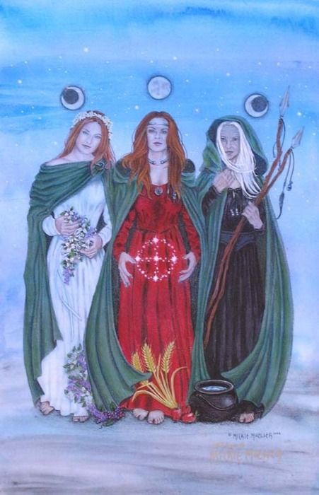 The Three Goddesses or Fates: maiden, mother, and crone.  Also, in Greek mythology, Clotho spins the thread of life, Lachesis measures the thread of life, and Atropos cuts the thread of life.