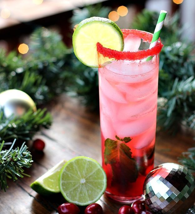 Christmas Mojito | 15 Non-Alcoholic Holiday Drink Recipes For All | The Perfect Drinks for Thanksgiving,Christmas Part and for Pregnant Women.