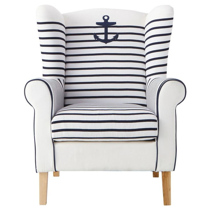 Sitting and Sailing. Two of my favorite activities combined into one.Decor, Anchors Aweigh, Beach Houses, Nautical Chairs, Armchairs, Stripes, Nautical Anchor, Beachhouse, Anchors Chairs