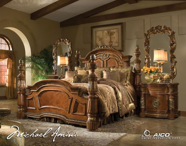 Aico Villa Valencia California King Poster Canopy Bed in Classic Chestnut   offered by Aico Furniture  browse our great selection of Wood Beds. 64 best A bed to fit a queen images on Pinterest   Carved beds