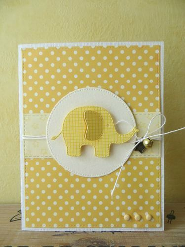 handmade birthday card ... yellow ... polka dotted background with gingham die cut elephant ... More