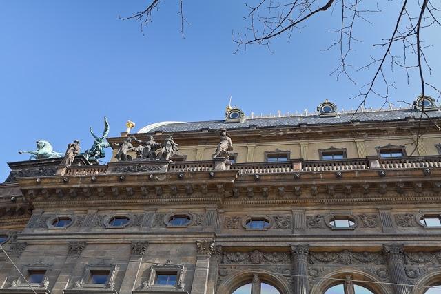 Národní divadlo (National Theater) facade - view from Masarykovo nábřeží/Vltava river banks, Praha