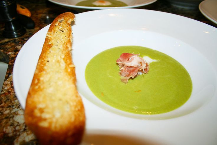 ... soup with crispy parmesan baguette, soft poached egg, and prosciutto