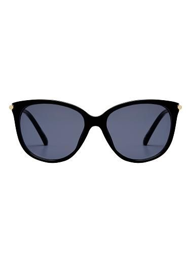 Round sunglasses with contrasting metal arm, offering UV protection that meets Australian standards and come complete in a soft pouch case with lens cloth. Plastic/metal.