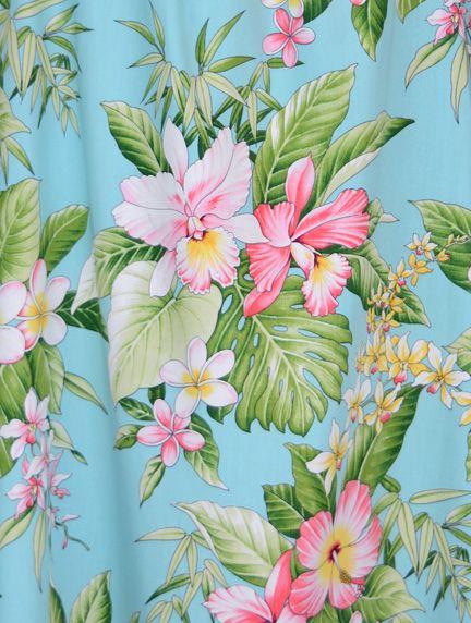 Hibiscus Plumeria Orchid Hawaiian MuuMuu, (Kaftan / Caftan), Pull-Over House Dress with Petal Sleeves, pocket, Regular Sizes and Plus Sizes created in Black, Aqua and Blue. W-Q-140S-DB