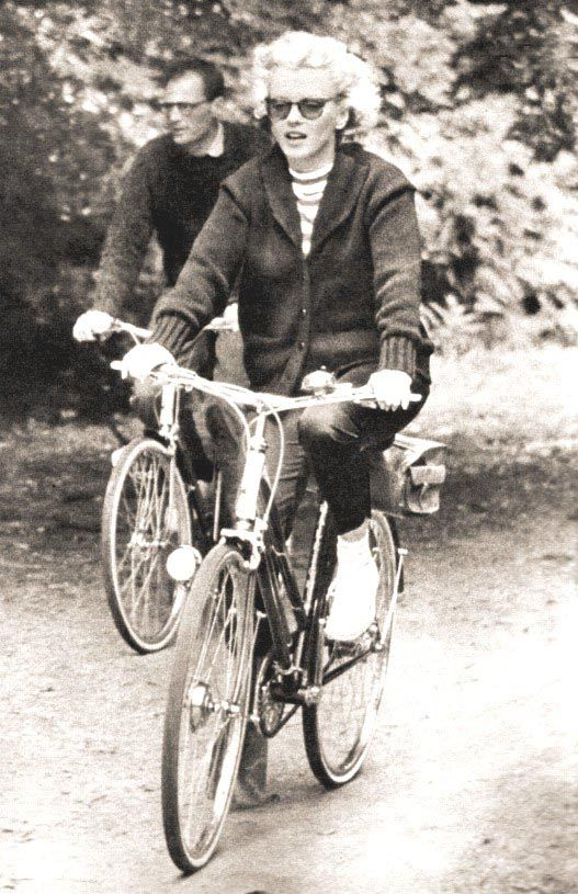 Marilyn Monroe and Arthur Miller on Bicycles