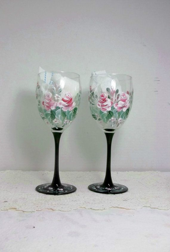 Glass Wine Glass Black Stems Hand Painted Scandinavian